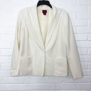 212 Collection Ivory Knit Blazer Size 14 1 Button